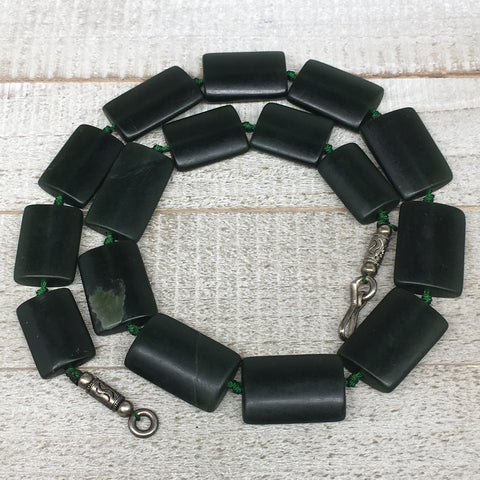 "124.2g,25mm-32mm,16 Beads,Natural Serpentine Rectangle Beads Strand, 20"", BN195"