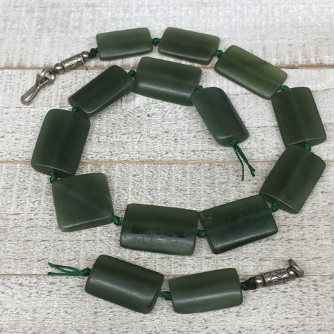 "108.5g,26mm-32mm,16 Beads,Natural Serpentine Rectangle Beads Strand, 16"", BN196"