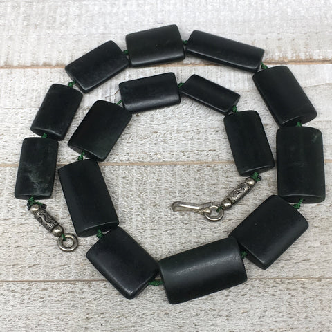 "122.6g,24mm-34mm,15 Beads,Natural Serpentine Rectangle Beads Strand, 18"", BN197"