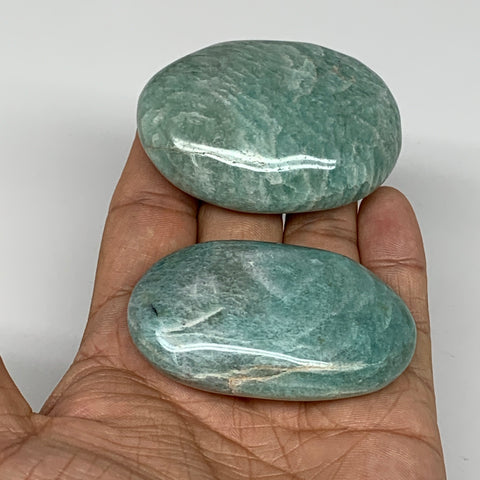 "129.9g,2.3""-2.4"",2pc,Natural Untreated Amazonite Palm-Stone Polished Reiki,B5451"