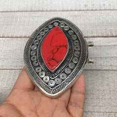 Ethnic Afghan Turkmen Pendant Tribal Red Coral Inlay Marquise Kuchi Pendant,AP54 - watangem.com