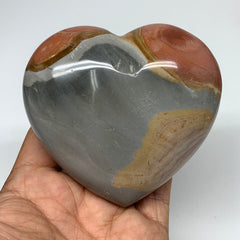 "350.4g, 3.2""x3.4""x1.5"" Polychrome Jasper Heart Polished Healing Crystal, B2627"