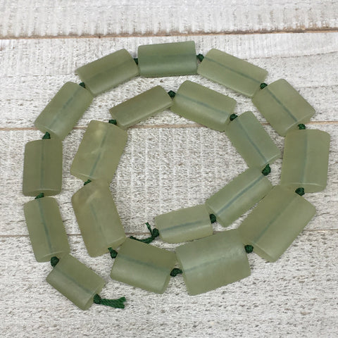 "116.6g,21mm-30mm,19 Beads,Natural Serpentine Rectangle Beads Strand, 22"", BN219"