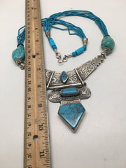 "Multi Beaded Afghan Turkmen Tribal Blue Turquoise Inlay V-Neck Necklace 22"",LN15 - watangem.com"