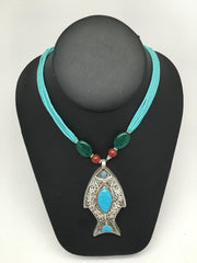 Afghan Turkmen Tribal Blue Turquoise Inlay Fish Multi Strand Bead Necklace,V209 - watangem.com