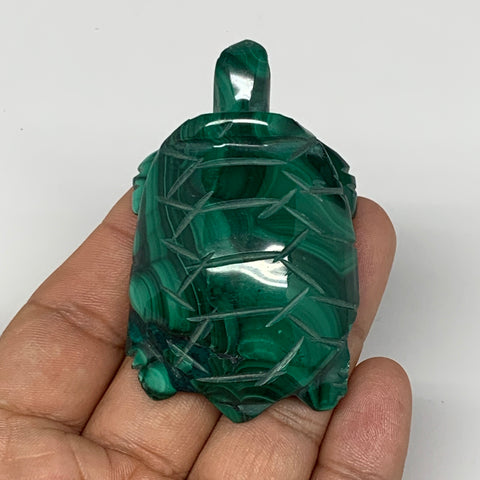 "80.3g,2.6""x1.5""x0.7"" Natural Solid Malachite Turtle Figurine @Congo,B7188"