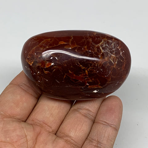 "122.2g,2.5""x1.5""x1.3"" Red Carnelian Palm-Stone Gem Crystal Polished Reiki,B10030"