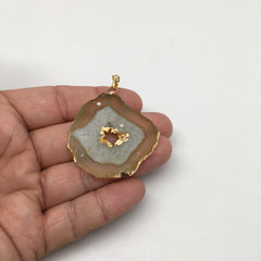 50.5 cts Agate Druzy Slice Geode Pendant Electroplated Gold Plated @India, D326 - watangem.com