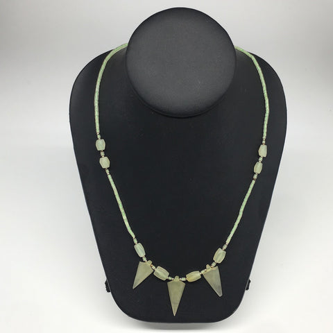 "13.3g,2mm-29mm, Small Green Serpentine Arrowhead Beaded Necklace,20"",NPH234"