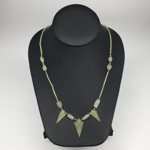 "12.5g,2mm-28mm, Small Green Serpentine Arrowhead Beaded Necklace,20"",NPH235"