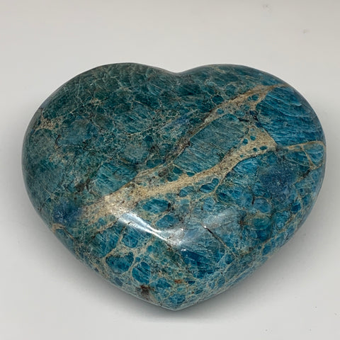 "7.99 lbs, 6.25"" x 7.25"" x3.1"", Natural Large Blue Apatite Heart Reiki Energy, B6"