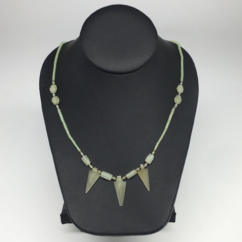 "13.1g,2mm-28mm, Small Green Serpentine Arrowhead Beaded Necklace,20"",NPH236"