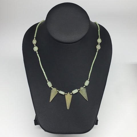 "12.6g,2mm-29mm, Small Green Serpentine Arrowhead Beaded Necklace,19"",NPH241"