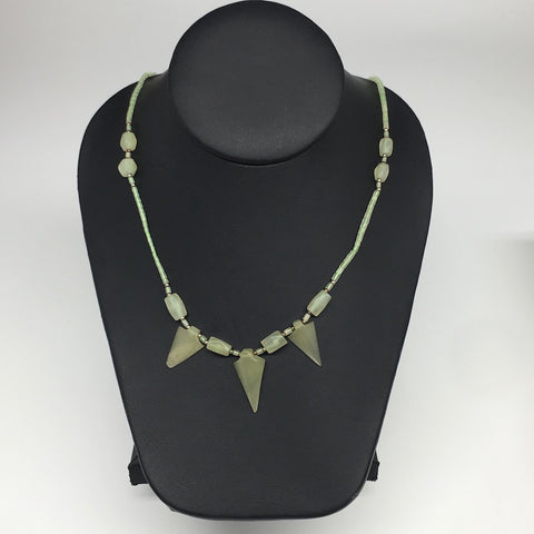 "14.1g,2mm-29mm, Small Green Serpentine Arrowhead Beaded Necklace,19"",NPH242"