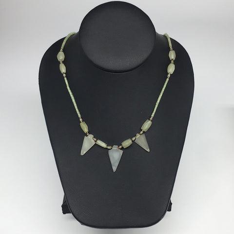 "14.1g,2mm-26mm, Small Green Serpentine Arrowhead Beaded Necklace,19"",NPH243"