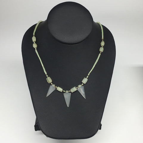"12.7g,2mm-27mm, Small Green Serpentine Arrowhead Beaded Necklace,19"",NPH245"