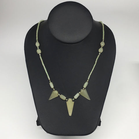 "13.2g,2mm-29mm, Small Green Serpentine Arrowhead Beaded Necklace,19"",NPH246"