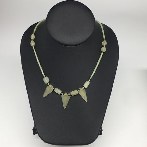 "13.8g,2mm-25mm, Small Green Serpentine Arrowhead Beaded Necklace,19"",NPH248"