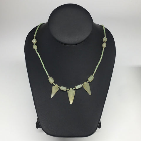 "13.4g,2mm-27mm, Small Green Serpentine Arrowhead Beaded Necklace,19"",NPH249"