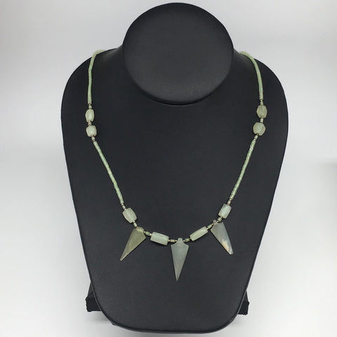 "12.7g,2mm-29mm, Small Green Serpentine Arrowhead Beaded Necklace,19"",NPH252"
