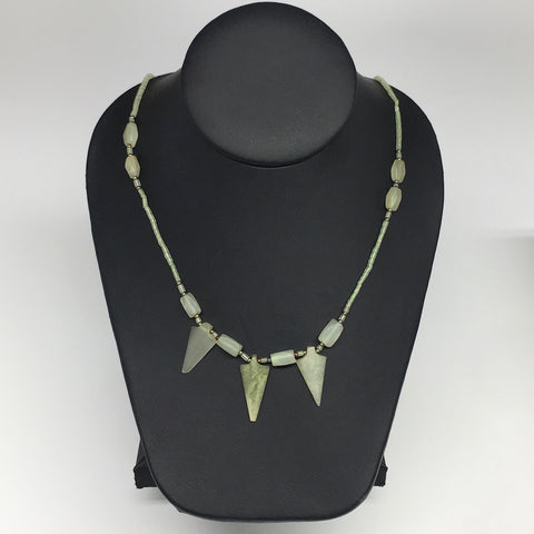 "13.8g,2mm-29mm, Small Green Serpentine Arrowhead Beaded Necklace,19"",NPH253"