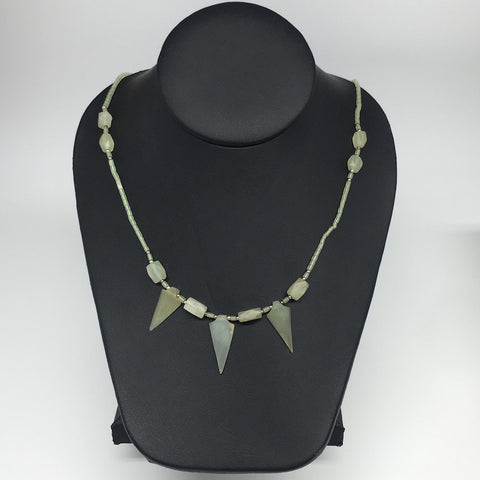 "13.3g,2mm-28mm, Small Green Serpentine Arrowhead Beaded Necklace,19"",NPH254"