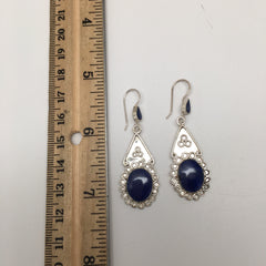 Natural Lapis Lazuli Sterling Silver Oval Dangle Earrings Afghanistan,SE14 - watangem.com