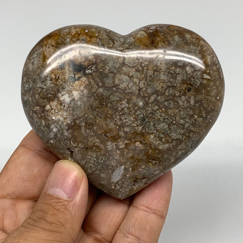 "203.2g, 2.7""x3.1""x1"" Agate Heart Polished Healing Crystal Gemstone, Reiki,B3637"