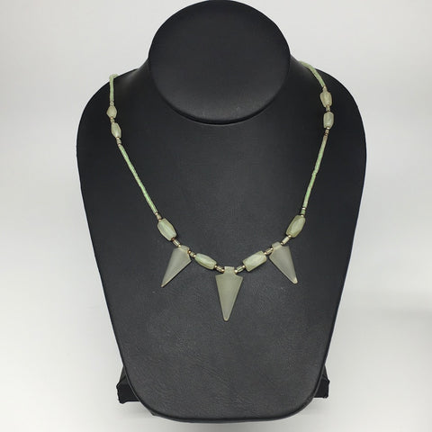 "13.4g,2mm-28mm, Small Green Serpentine Arrowhead Beaded Necklace,19"",NPH297"