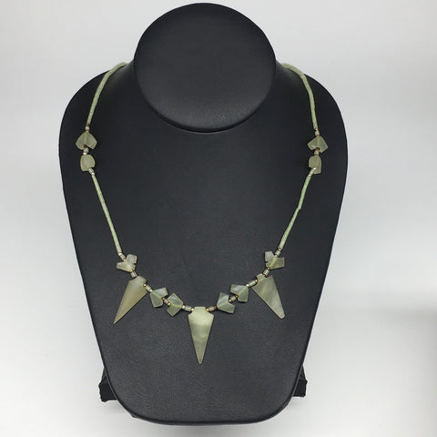 "15.5g,2mm-29mm, Small Green Serpentine Arrowhead Beaded Necklace,19"",NPH298"