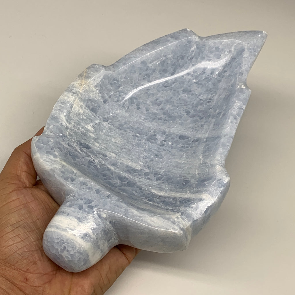 "1276g, 8""x4.9""x1.8"" Natural Blue Calcite Bowl Leaf Gemstones Ashtray, B6365"
