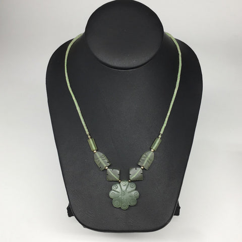 "18.6g,2mm-27mm, Green Serpentine Flower Carved Beaded Necklace,18"",NPH301"