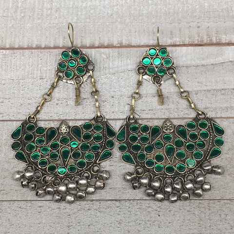 "4.7"", Long Handmade Afghan Kuchi Earring Dangle Green Glass Bells Chain, KE198"