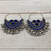 "3""x2.5"", Afghan Kuchi Hoop Earring Blue Glass Bells Chain Bib Statement,KE201"