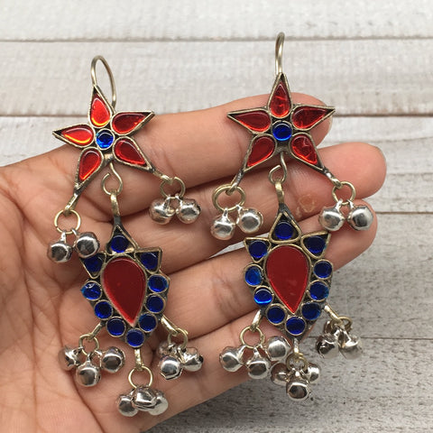Kuchi Earring Afghan Tribal Blue, Red Glass Jingle Bells Earring Bib Boho KE204 - watangem.com