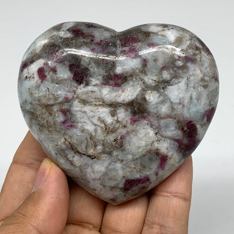 "187.1g, 2.5""x2.8""x1.2"" Rubellite Heart Polished Healing Crystal Gemstone, B3663"