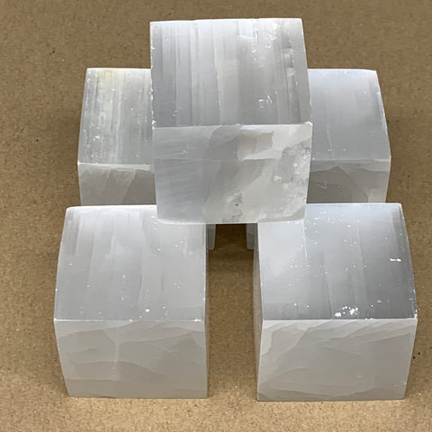"1pc, 220-235g, 1.8"" Natural White Selenite Cubes Crystal gypsum from Morocco,"