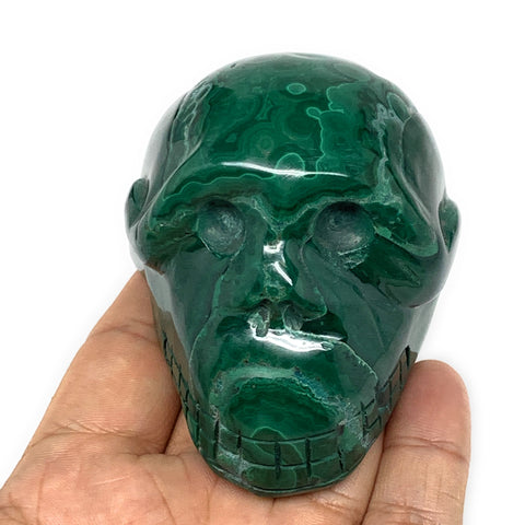 "401.6g, 2.9""x2.2""x2"", Natural Solid Malachite Skull From Congo, B7133"