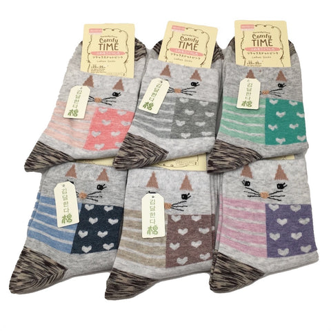 10 Pairs Lot,4 to 6 colors Quality Comfort Ladies Socks - Size: 22cm-25cm, Soc10 - watangem.com