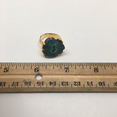 32.5 cts Agate Druzy Geode Electroplate Gold Plated Ring size:8.5, @India,D464 - watangem.com