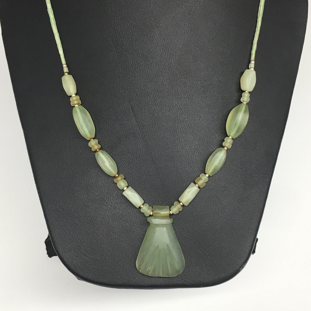 2-23mm Green Nephrite Jade Multi-Strand Bead Necklace,@Afghanistan,TN477 1pc