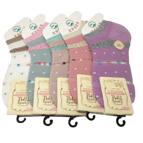10 Pairs, 5 colors Comfort low cut Ladies Socks - Size: 22cm-25cm, Soc11 - watangem.com