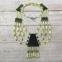1pc, 2-36mm Green Serpentine Multi-Strand Bead Necklace,@Afghanistan,NPH360