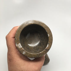 816 Grams Handmade Marble Fossil Mortar and Pestle from Morocco, PS09 - watangem.com