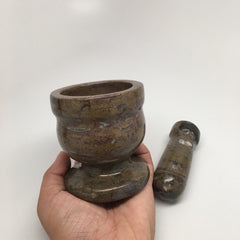 738 Grams Handmade Marble Fossil Mortar and Pestle from Morocco, PS11 - watangem.com