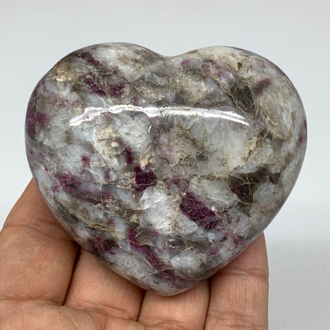 "203.8g, 2.4""x2.8""x1.3"" Rubellite Heart Polished Healing Crystal Gemstone, B3682"