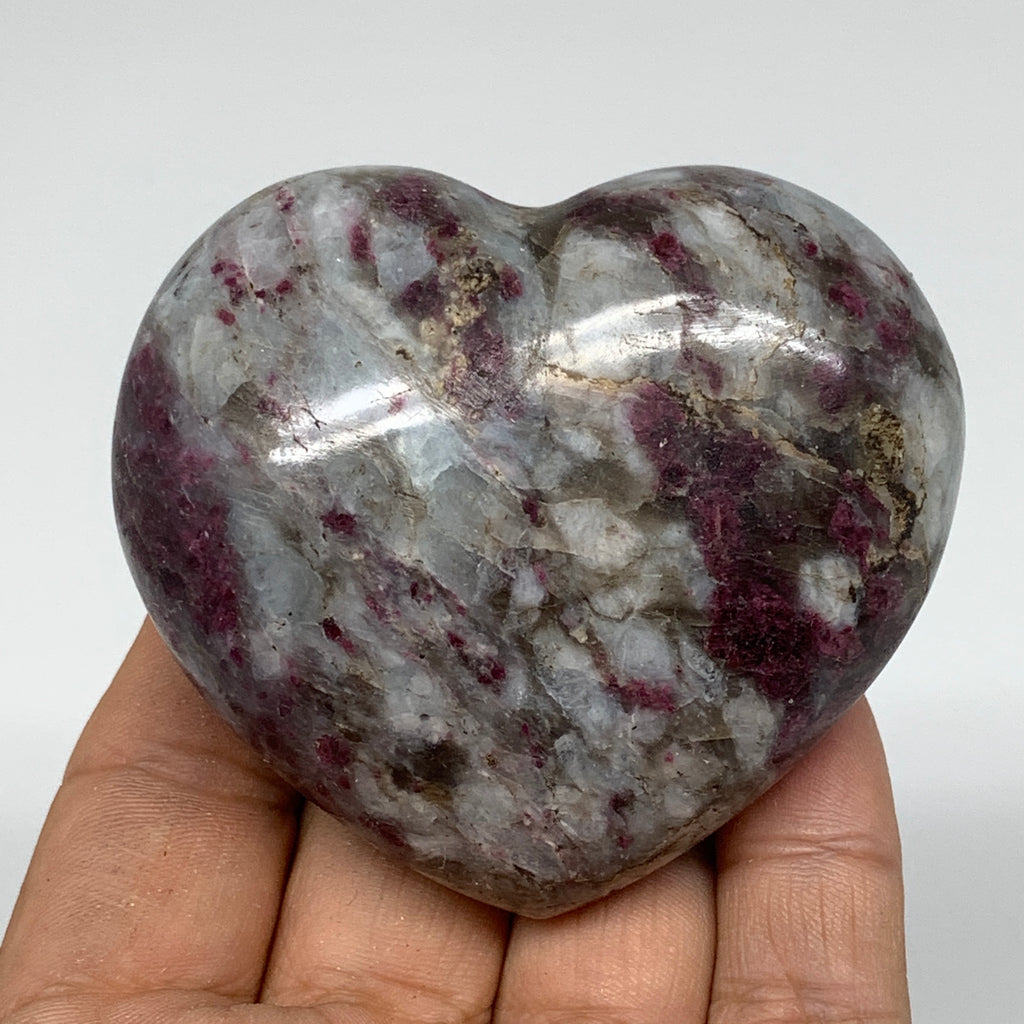 "189.6g, 2.4""x2.7""x1.3"" Rubellite Heart Polished Healing Crystal Gemstone, B3685"