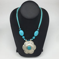 """1pc,Turkmen Necklace Pendant Statement Tribal Turquoise Inlay Beaded,20-21"""",BN23"""