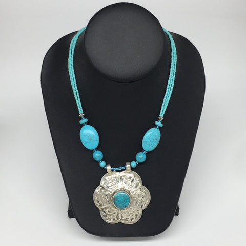 "1pc,Turkmen Necklace Pendant Statement Tribal Turquoise Inlay Beaded,20-21"",BN23"