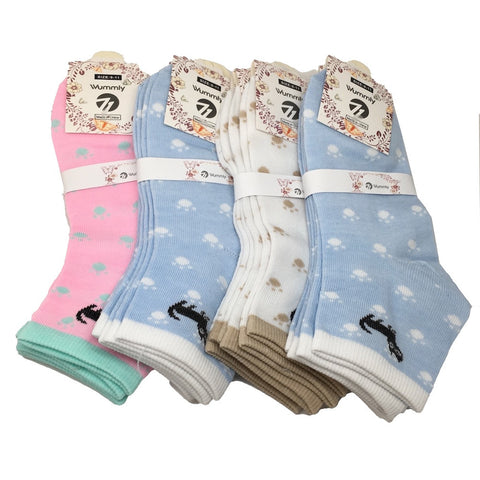 12 Pairs, High Quality 3 different Color Low Cut Women's Socks -Size:9-11, Soc24